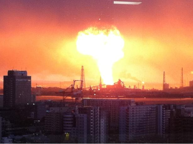 March 11 tsunami leads to an explosion at Chiba Works, an industrial (chemical, steel, etc.) facility in Chiba, Japan.<br />