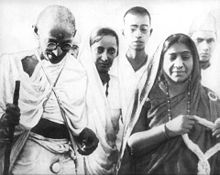 Sarojini Naidu (extreme right) with Mahatma Gandhi during Salt Satyagraha, 1930