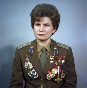 """Valentina Tereshkova"". Valentina Tereshkova, pilot-cosmonaut, first female cosmonaut, Hero of the USSR. Pictured as a Major of the Soviet Air Forces (WikiCommons: Commons:RIA Novosti)"