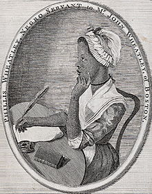 Phillis Wheatley, as illustrated by Scipio Moorhead in the Frontispiece to her book Poems on Various Subjects.
