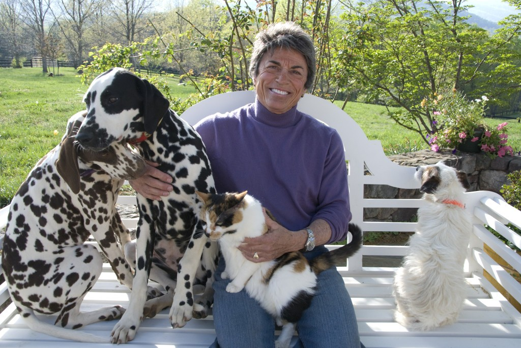Rita Mae Brown with her animals